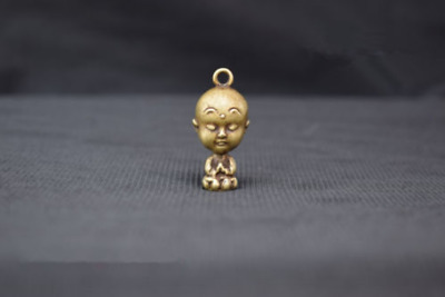 China Old Collectibles Pure brass Big head lovely monk small pendant