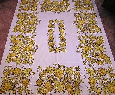 Vintage Tablecloth LARGE Bright Gold Grape Bunches and Wheat Heavy Cotton
