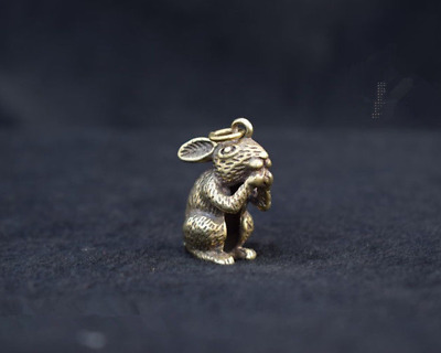 China Old Collectibles Pure brass Zodiac rabbit lucky small pendant