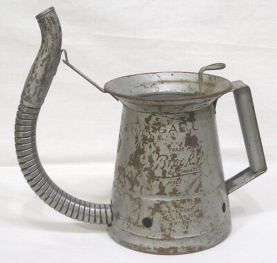 """Vintage Brooking One Gallon Oil Can Dispenser Flexible Spout 10"""" Tall"""