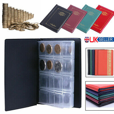 120 Coins Collection Album Money Storage Case Holder Coin Collecting Book UK