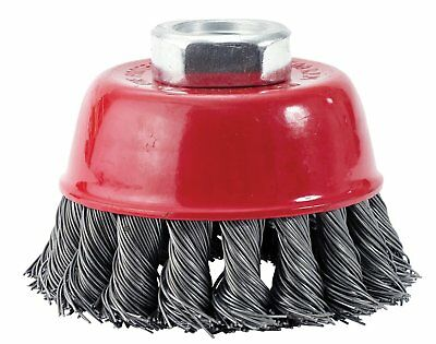 """ITM KCC100 4"""" Knotted Cup Carbon Steel Wire Brush - 5/8"""" Arbor"""