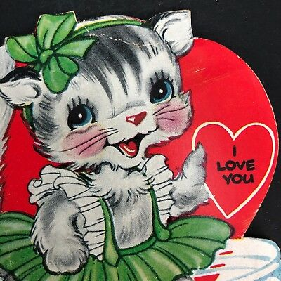 Vtg Valentines Card Ephemera CUTE Tabby 40s 50s In A Whirl Kitty Cat Ameri-Card