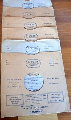 VINTAGE 78 rpm CARDBOARD RECORD SLEEVE, X6, F. WEBB OF BANBURY.