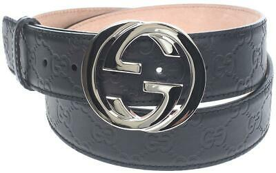 8c3dc5f57 New Gucci Black Signature Gg Leather Silver Interlocking G Buckle Belt 90/36