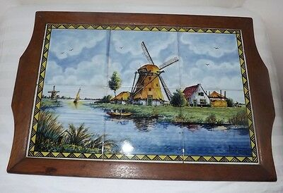 Dutch Delft Polychrome Windmill Scene Tile TRAY with Wooden Frame and Handles