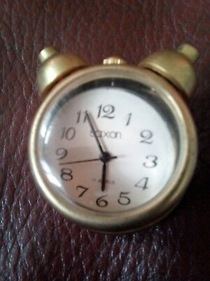 Miniature Brass Saxon Mechanical Clock ( Spares Or Repair Only)