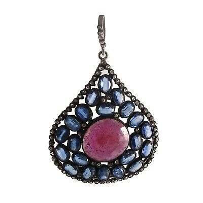 Antique  Victorian 925 Sterling Silver Rose cut Diamond Red Ruby Kyanite Pendant