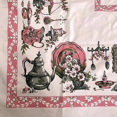 """VTG Pink Gray Cottage Style 45"""" Square Tablecloth Floral Border Chic Shabby"""