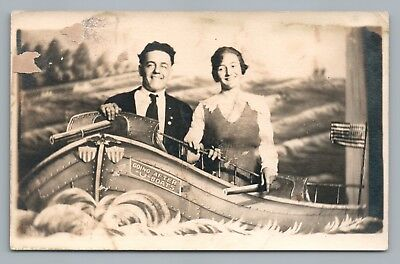 """Going After U Boats"" Antique WWI Era Couple RPPC Studio Photo AZO 1910s"