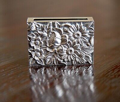 Kirk & Sons * Repousse * Sterling Silver Match Book Box Cover - No Mono (90F)