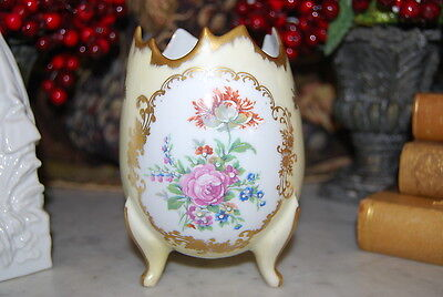 Wonderful Hand Painted France Large Yellow Egg With Flowers Gilded Footed Vase