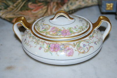 Wonderful Haviland French Limoges Large Flowered Gilded Sugar Bowl Box W  Lid