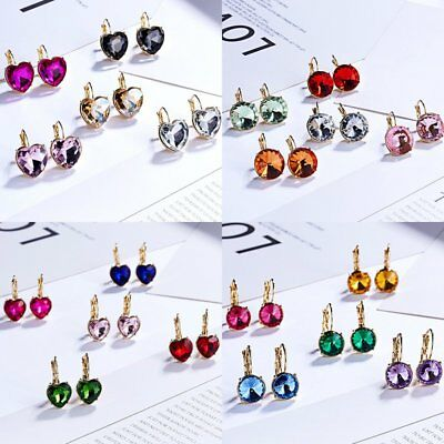 Charm Women Crystal Round Circle Ear Clip Drop Dangle Earrings Wedding Jewelry
