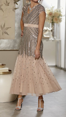 3ceb91d96f Ashro Giovanna Gown Beaded Dress Champagne Formal Party Cruise 6 8 10 12 14  18W