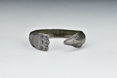 Northwest Coast American Indian Silver Bracelet w/ Bird Motif