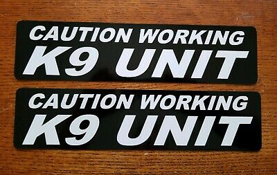 CAUTION WORKING K-9 UNIT MAGNETIC SIGNS car truck Van SUV Bold White on Black