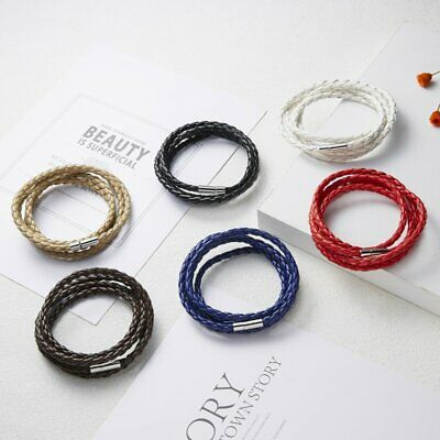 Hot Unisex Women Men Handmade Braided Leather Cuff Bracelet Wristband Wrap Gift