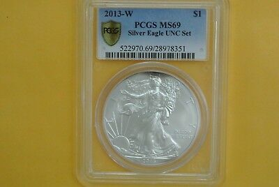 2013-W Burnished Silver Eagle PCGS MS69 UNC (2013 Annual Dollar Set) Secure Plus