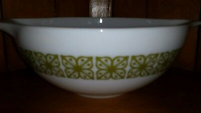 Vintage Pyrex Milk Glass Green Verde Square Blossom 4Qt Mixing Bowl   #444