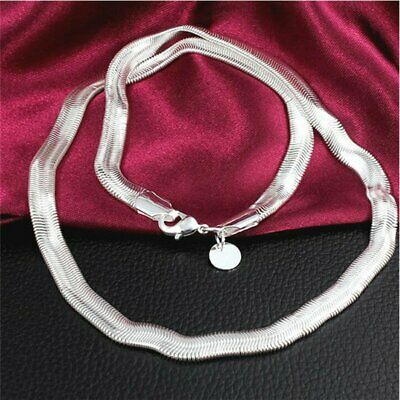 Fashion Men Women Solid Silver 6MM Snake Chain For Pendant Necklace Jewelry Gift
