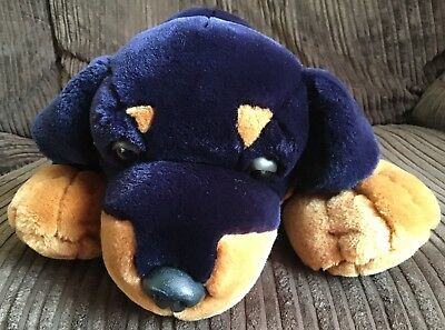 Keel Toys Rottweiler Dog Laying Plush Heavy Simply Soft Toy Blue Black Brown 22
