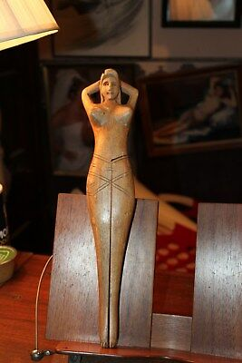 "Vintage Wooden Carved Nude Lady Nutcracker Approx. 14"" Fort Myers Beach Florida"