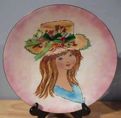 "Enamel on Copper Art Plate ""Young Girl in Bonnet"" on Pink Background ""Camille"""