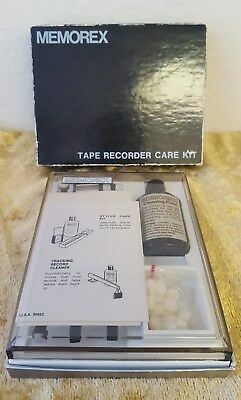 MEMOREX Reel Tape Recorder Care Kit Fluid Brush Mirror Cleaning Wand & Pads