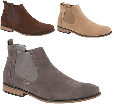 Mens Chelsea Boots Faux Suede Ankle Boots Slip On Italian Style UK Sizes 7-12
