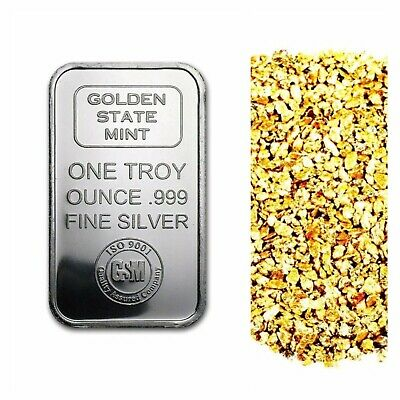 1 Troy Ounce .999 Silver Gsm Iso Bar Bu + 50 Piece Alaskan Pure Gold Nuggets