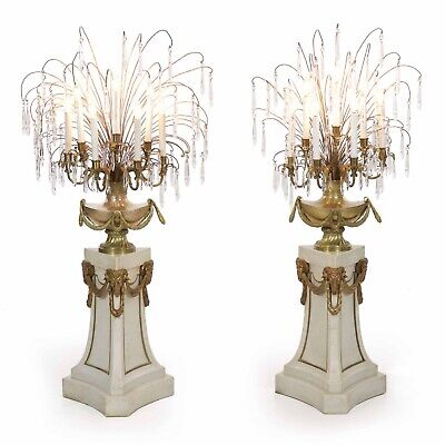 RARE PAIR FLOOR LAMPS   Antique French Neoclassical Marble Bronze Candelabra