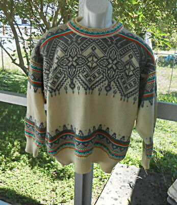 baca8a88ea6 Dale Of Norway Sweater Small Vintage Pure New Wool Cream Gray Green