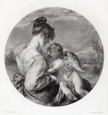 """Magnificent 1800s WILLIAM ETTY Engraving """"Dangerous Playmate"""" Framed SIGNED COA"""