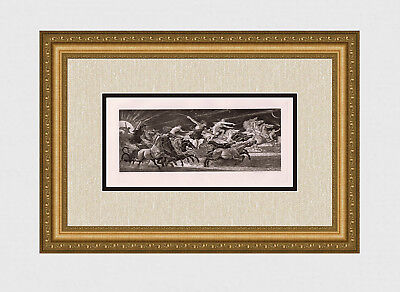 """Gorgeous 1800s WALTER CRANE Antique Print """"Chariots of Fire"""" SIGNED Framed COA"""