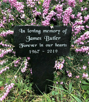 Personalised Engraved Memorial Natural Slate Stake Grave Marker Spike Plaque