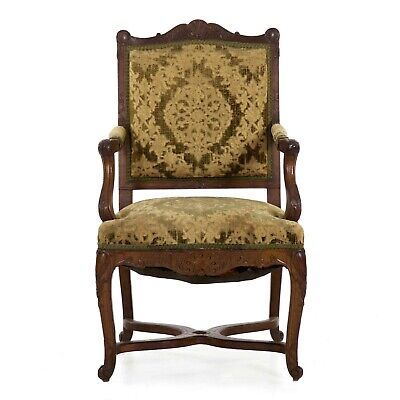 Vintage Arm Chair | French Louis XV Carved Walnut Handwoven Antique Upholstered