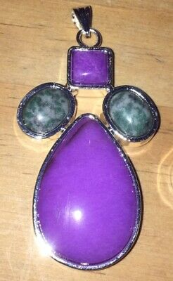 Large Sterling Silver Mixed Gemstone Cross Pendant for Necklace Purple Quartz