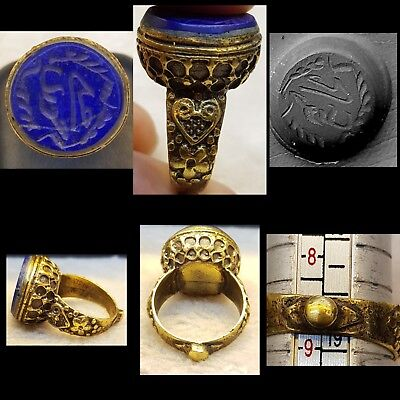 Wonderful Lapis lazuli Stone Islamic Blessing Intaglio Lovely Old Ring  # u7
