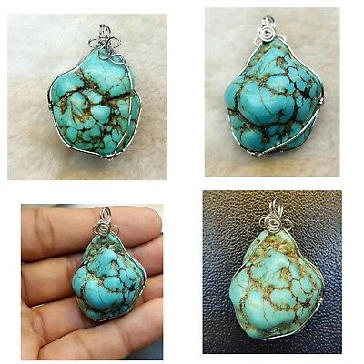 Natural Stabilize Persian Turquoise Beautiful Rough Shape Lovely Pendant # TR87i