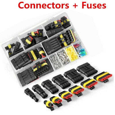 1-6 Pin Way Car Electric Waterproof Connector Plug Terminal Socket Fuse Case Kit