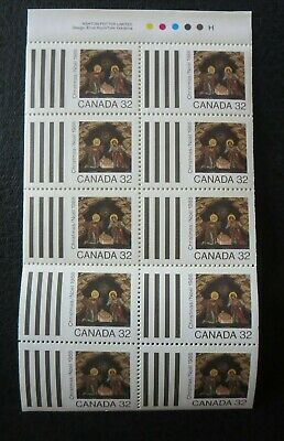 "Canada Stamps  #1225  Mint 1988  ""christmas Icons--Nativity""  Full Pane Of 10"