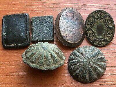 Lot of 6 Ancient Roman / Byzantine Medieval Bronze Belt Mounts Very Rare