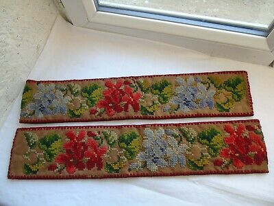 French antique c.1900 pair curtain tiebacks cross stitch needlework embroidery