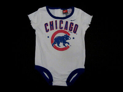 Nike Team Girls Chicago Cubs One Piece Outfit Sz 6-9 MONTHS White MLB Baseball