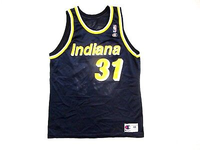 buy popular e7081 fe11d VINTAGE CHAMPION REGGIE Miller Indiana Pacers Jersey sz 48 Navy Blue NBA 90s