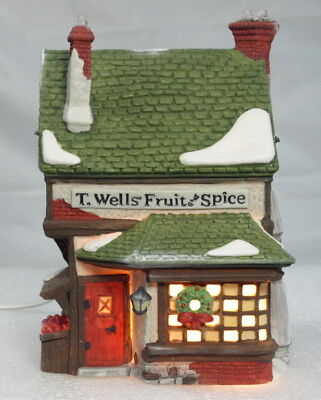 """""""new"""" Dept 56 Dickens """"t Wells Fruit And Spice Shop"""" Lighted"""