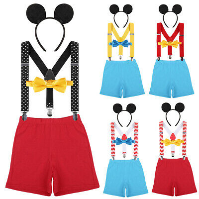 Newborn Baby Boys Mickey Mouse Suspenders Short Pants Birthday Party Outfits Set