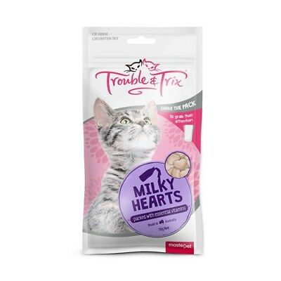 Trouble & Trix Cat Treats Milky Hearts 70g With Essential Vitamins
