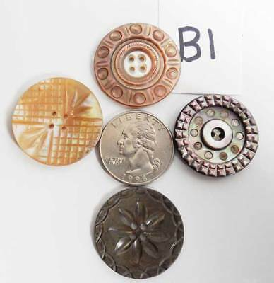 4 ANTIQUE CARVED ABALONE mother of pearl  MOP BUTTONS - B1